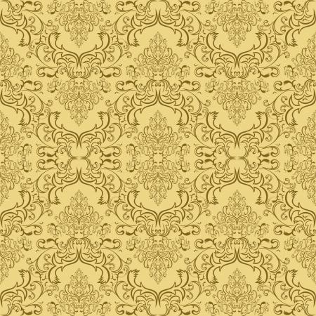 Beige seamless damask Pattern Illustration