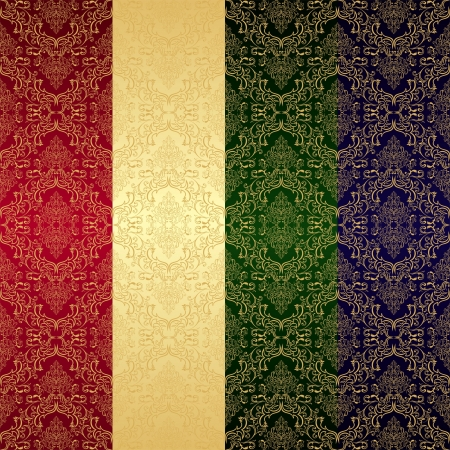 royal rich style: Golden seamless retro wallpaper.  Background in four variants