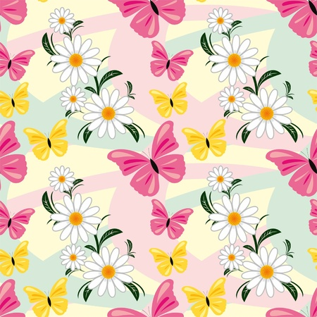 greener: Seamless abstract pattern with Chamomiles and Butterflies Illustration