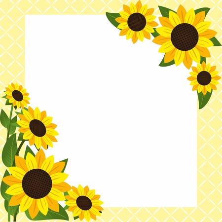 semillas de girasol: Marco de la flor con los girasoles Vectores