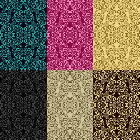 pink wall paper: Seamless patterns - set of six colors