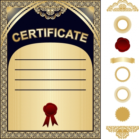 Certificate Template with additional elements - gold and dark blue design Vector