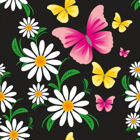 greener: Seamless pattern  on a black background with Chamomiles and Butterflies