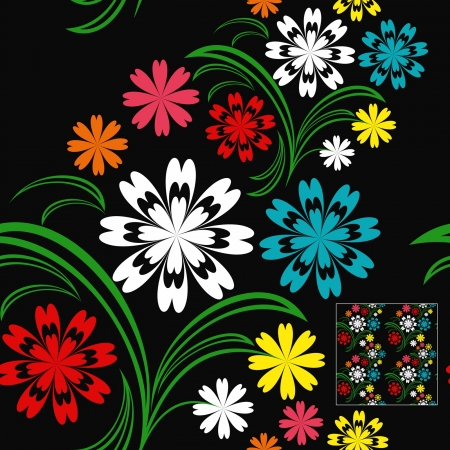 greener: Flower seamless pattern with colorful flowers on a black background