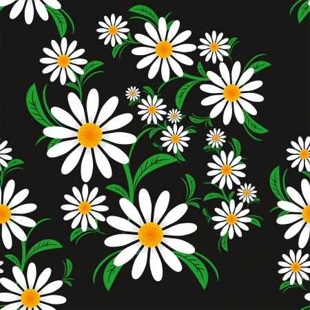 greener: Flower seamless Pattern with Chamomiles on a black background