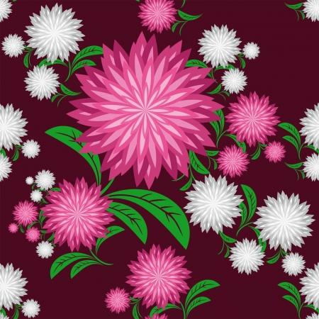Flower seamless pattern with chrysanthemums Illustration