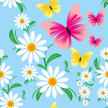 greener: Seamless blue pattern  with Chamomiles and Butterflies Illustration