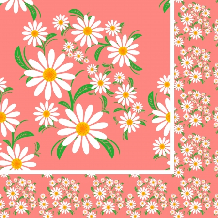 greener: Flower seamless Pattern with Chamomiles on a pink background