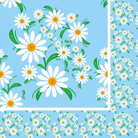 greener: Flower seamless Pattern with Chamomiles on a blue background Illustration