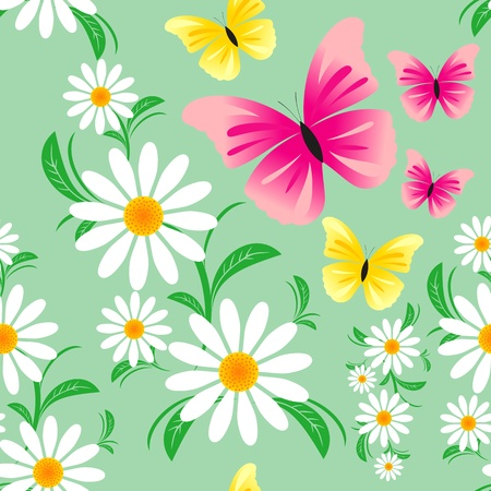 greener: Seamless pattern  with Chamomiles and Butterflies Illustration