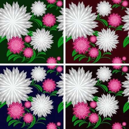 greener: Flower seamless pattern in four colors