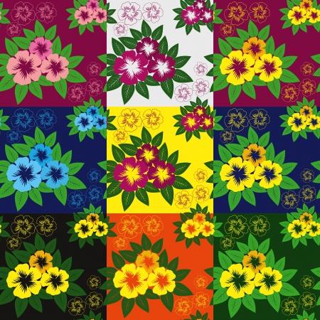 greener: Flower seamless pattern - nine variants