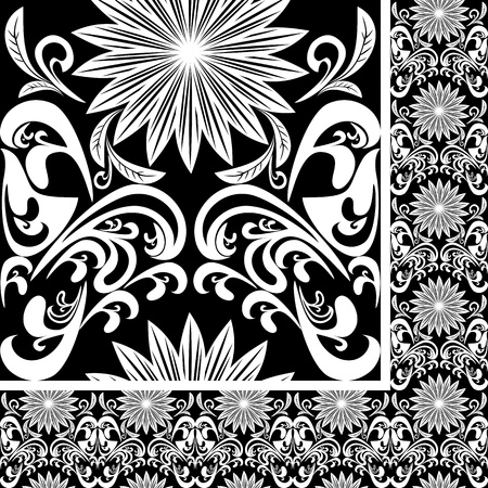 regency: Seamless white Pattern on black background