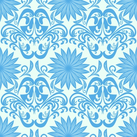 amazing wallpaper: Blue seamless floral damask Wallpaper Illustration