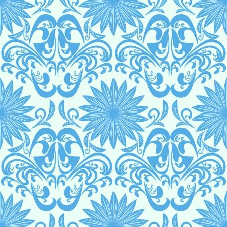 Blue seamless floral damask Wallpaper Çizim