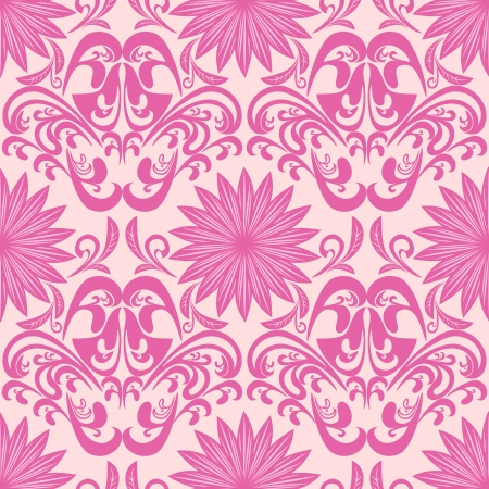 Pink seamless floral damask Wallpaper Vector
