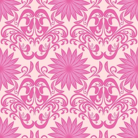 regency: Pink seamless floral damask Wallpaper