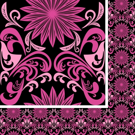 Bright seamless pink Pattern on black background Vector