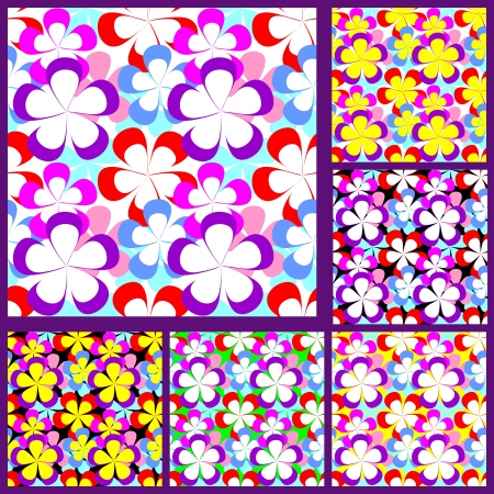 greener: Abstract seamless Pattern with Flowers - set of six variants
