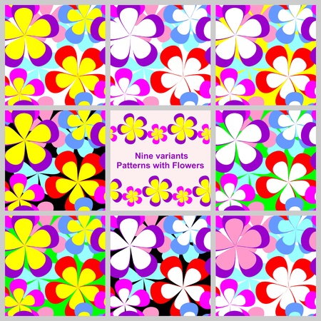 greener: Abstract seamless Pattern with Flowers - Set of  nine variants