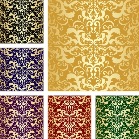 Golden seamless luxury pattern - Set of six variants  Vector