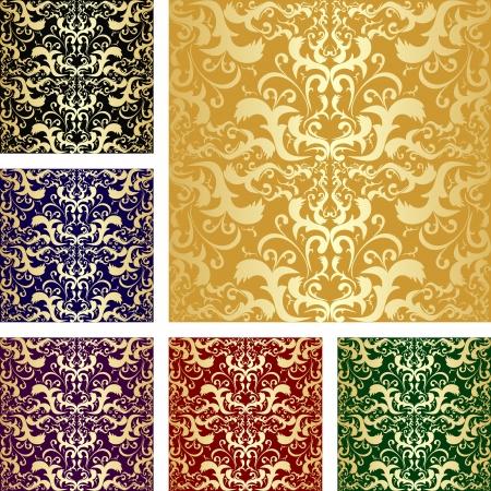 regency: Golden seamless luxury pattern - Set of six variants