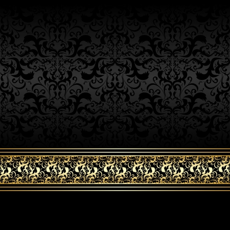 continuous: Luxury charcoal Background  with golden ribbon Illustration