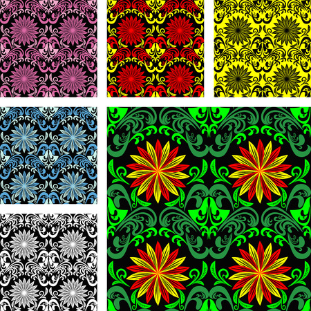 regency: Bright seamless Pattern in six color varants