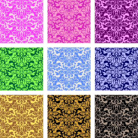 Seamless retro patterns - set of nine variants Vector