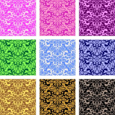 regency: Seamless retro patterns - set of nine variants Illustration