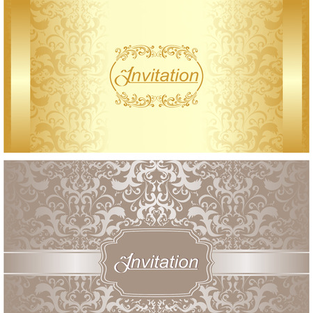 Invitation card design in gold and silver colors Vetores