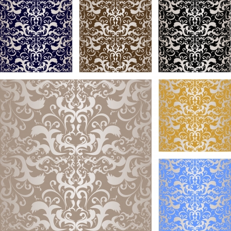 regency: Luxury silvery seamless  pattern  Background of six variants Illustration