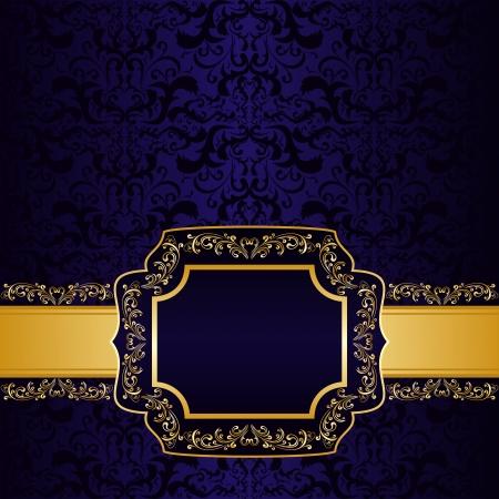 azul marino: Azul oscuro de fondo ornamental con su etiqueta de información personalizada Vectores