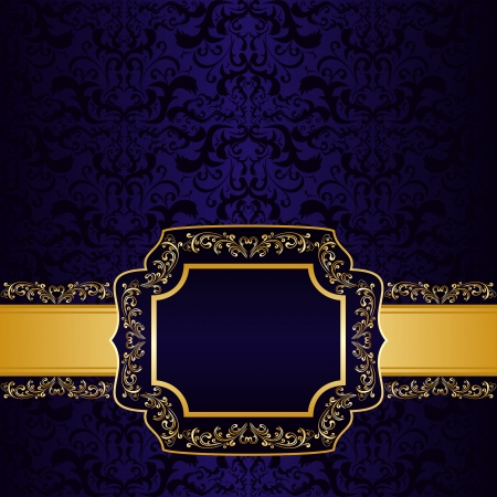 Dark blue ornamental Background with label for your personalized information