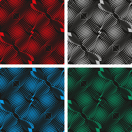 interweaving: Seamless black abstract pattern - Background in four colors   Stock Photo