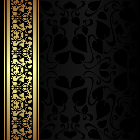 Charcoal ornamental Background with golden border