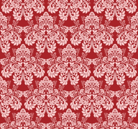 regency: Seamless claret wallpaper with pink roses