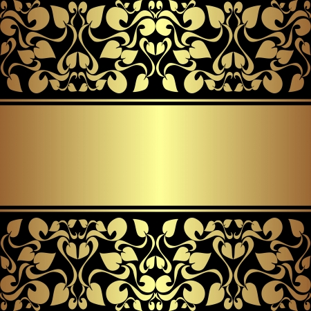 rich black wallpaper: Luxury ornamental Background with golden ribbon