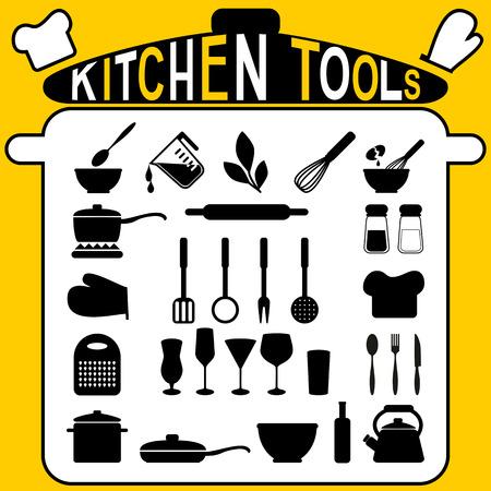 kitchen tools: Keuken gereedschap - iconen set Stock Illustratie