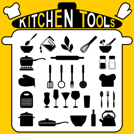 Kitchen tools - icons set  Vector