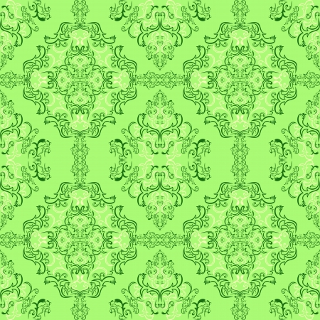Light green damask seamless Wallpaper   Vector