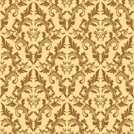 Seamless damask floral pattern in beige colors