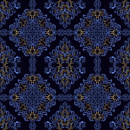 Sombre Fond d'écran bleu rétro avec des éléments d'or