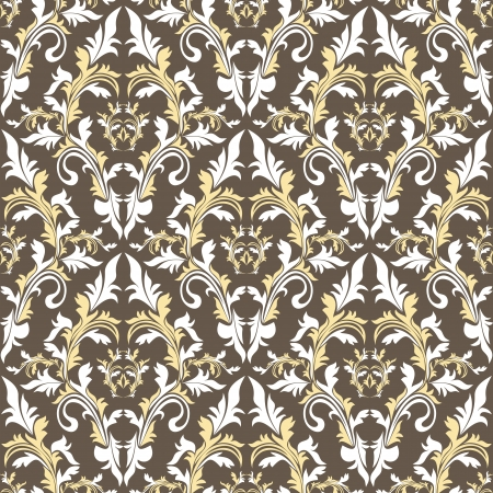 victorian scroll: Seamless damask floral pattern