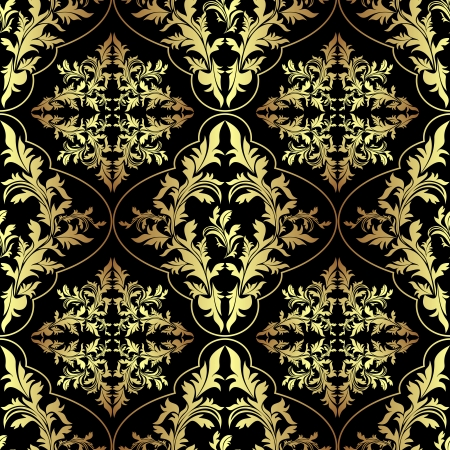 regency: Luxury ornamental Wallpaper - gold and charcoal