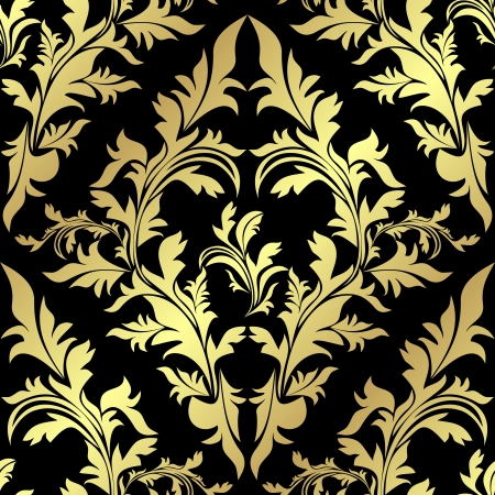 luxurious seamless wallpaper: Golden floral Pattern on a black background