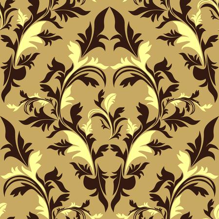 greener: Seamless damask floral Ornament - beige and brown design