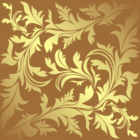 Luxury ornamental golden Background with floral elements  Vector