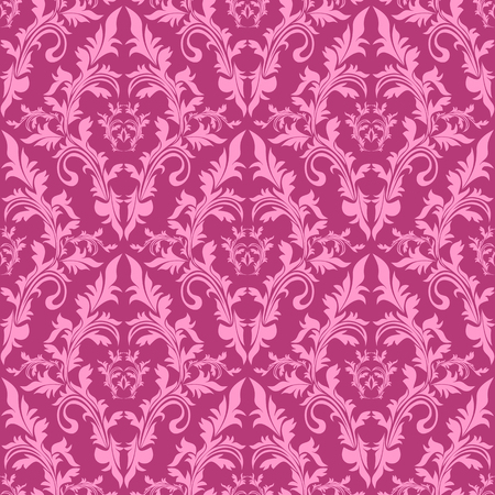 pink wall paper: Seamless damask floral Pattern in shades of pink  Illustration