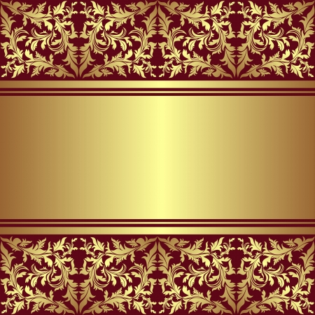 Luxury Background with golden ornamental border   Illustration